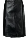 Prada wrap front leather skirt – Black