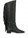 Saint Laurent fringed stud detail knee-high boots – Black