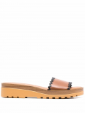 See by Chloé Robin contrast-trim leather sliders – Brown