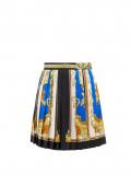 Versace – Baroque-print Pleated Silk-twill Mini Skirt – Womens – Blue Multi