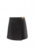 Versace – Medusa-plaque Leather Mini Skirt – Womens – Black
