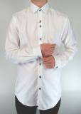 White Self-Stripe Cotton Twill Shirt
